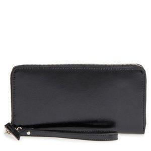New Leather Wallet strap zip around black B02